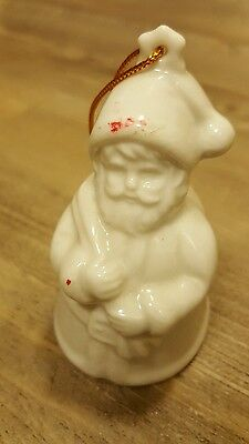 Vintage Santa Claus White Porcelain Bell Holiday Christmas Ornament