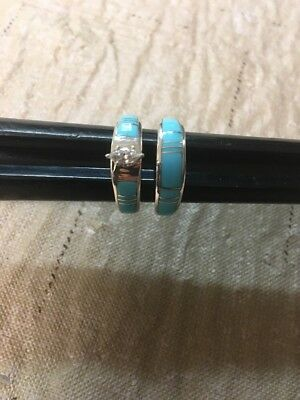 Native American Womens Navajo Turquoise Wedding Band Set Ring Size 6