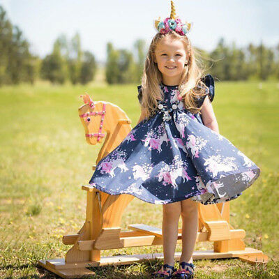 AU Cute Toddler Infant Girl floral animal Unicorn pattern Summer Dress One-Piece