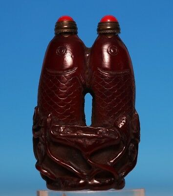 Gorgeous Old Chinese Hand Carving Ox Double Fishes Snuff Bottle Marked US253