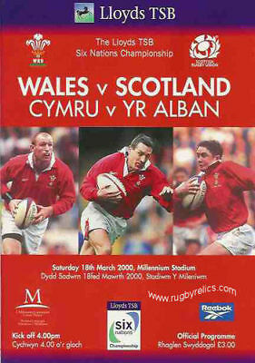 WALES v SCOTLAND 18 MARCH 2000 RUGBY PROGRAMME WITH COA