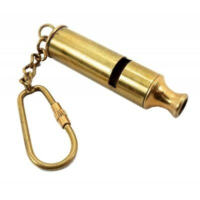 Brass POLICE WHISTLE Key Chain- Collectible Marine Nautical Key Ring (42)