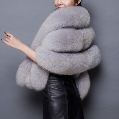 Womens Luxury Fox Fur Coat Lady Warm Long Shawl Stole Wrap Shrug Scarf Cocktail