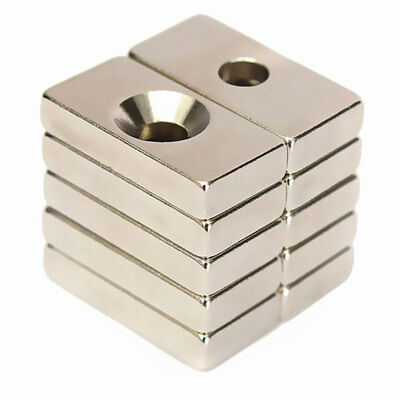 Super Strong Block Magnets 20x10x4mm 4mm Hole Rare Earth Neodymium Silver