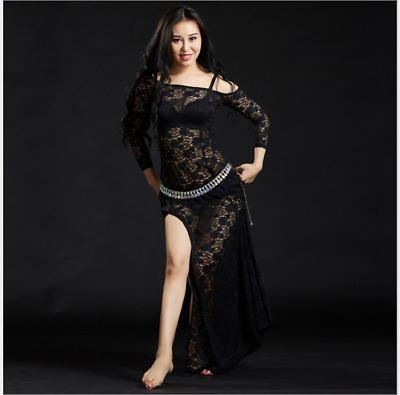 4222643f8 Lace One-piece Long Skirt Performance Belly Dance Costumes Practice Dress  5116