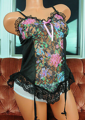 VTG Nan Flower Black Colorful Floral Lacy Mesh Camisole Nightie Top w Garters M