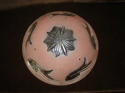 Vtg Antique Pink Ceiling Light Fixture 3 Chain Round Globe Victorian Appeal