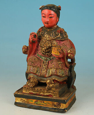 Chinese Old Wood Collection Handmade Carved Figure Statue