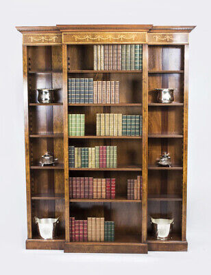 Bespoke Sheraton Revival Breakfront Burr Walnut Open Bookcase