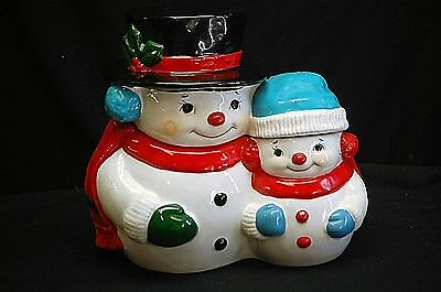 Whimsical Jolly Snowmen Cookie Biscuit Jar Christmas Holiday Xmas Shelf Decor