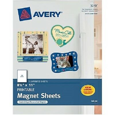 """Avery Personal Creations™ Printable Inkjet Magnet Sheets 8.5"""" x 11"""" (5 SHEETS)"""