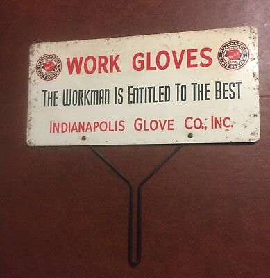 "Porcelain Over Tin Advertising Store Display Sign For Work Gloves 16"" Wide"