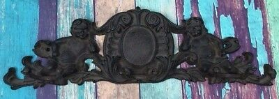 Vintage Cast Iron Wall Mount Coat Rack Hooks Hangers Cherubs Victorian Metal