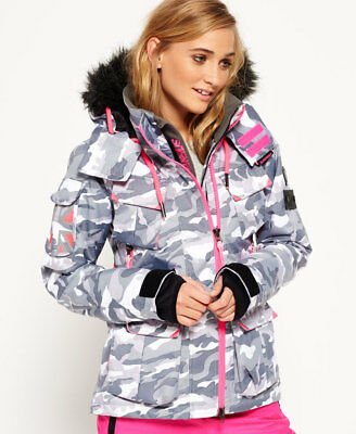 New Womens Superdry Ultimate Snow Service Jacket Snow Camo