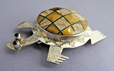 3D Vintage Old Pawn Sterling Ca Cecil Ashley Inlay Figural Tortoise Turtle Pin