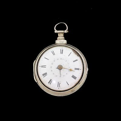 Antique Calendar Fusee George III Sterling Silver Pair Case Pocket Watch 1810