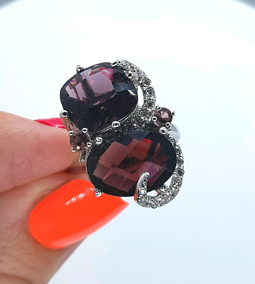 AMETHYST & Diamond Simulate Ring, Size 8 US, Sterling Silver, NEW