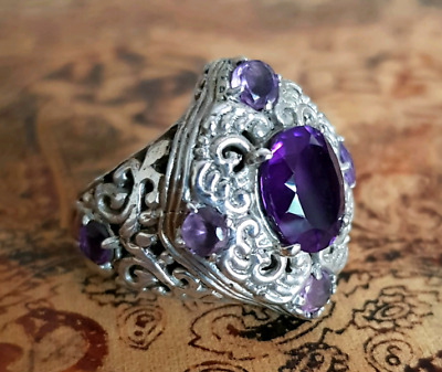 Antique Style Amethyst Ring, Size 7 1/4 US, Sterling Silver, NEW