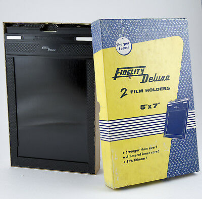 "Fidelity Deluxe (2) 5x7"" film holders MIB in BOX - NOS"
