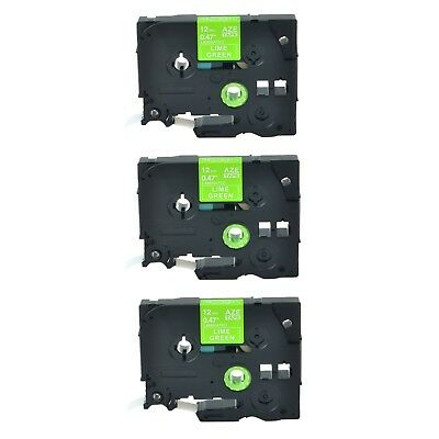 """3PK TZ TZe MQG35 White on Lime Green Label Tape for Brother PTouch PT550 1/2"""""""