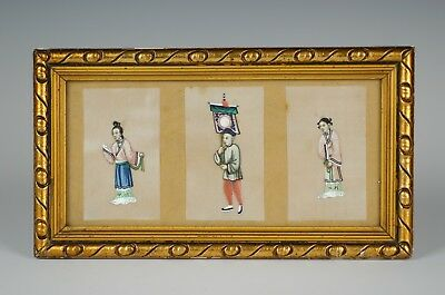 Nice Antique Chinese 19th Century Framed Rice Pith Paper Watercolour Painting