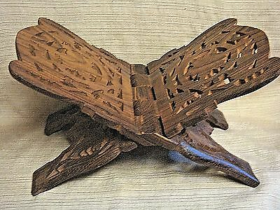 Vintage Hand Carved WOODEN Folding BOOK STAND -  Made in INDIA