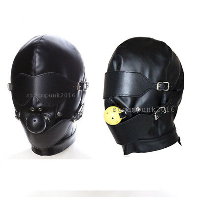Sexy Leather Open Mouth Gag Hood Slave Head gear Eye Mask Restraints Roleplay