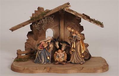 Kostner Nativity Set with Tyrol Stable - Painted Woodcarvings - 7 Pieces