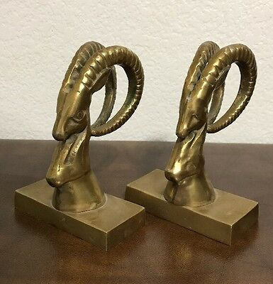Pair of Vintage Solid Brass Ram Head Bookends Long Horns