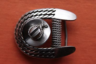 Vtg Hand Made Stainless Steel Cowboy Hat and Rope Horseshoe Western Belt Buckle