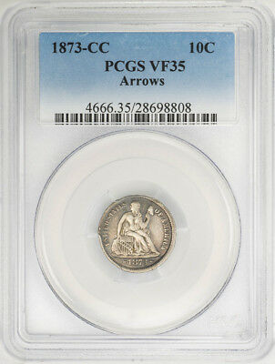 1873-CC 10C Seated Liberty Dime VF35 Arrows PCGS US Rare Coin