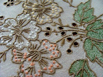 "Beautiful Vintage MADEIRA Linen Tablecloth 34"" Topper COLOR Hand Embroidered"