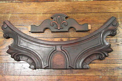 2 Vintage Salvaged Furniture Oak Crest Crown Pediment Back Splash Trim Pieces