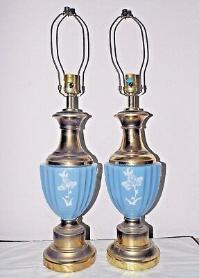 """Lamps Pair Of Vintage 3-Way 30""""h Victorian Themed Porcelain & Brass Table Lamps"""