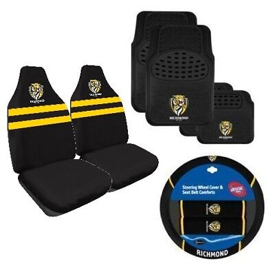Richmond Tigers AFL Licensed Seat Covers Floor Mats Steering Wheel Cover Combo