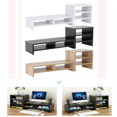 Computer Monitor Riser Laptop Screen TV Desktop Stand Storage Table Shelf Wooden