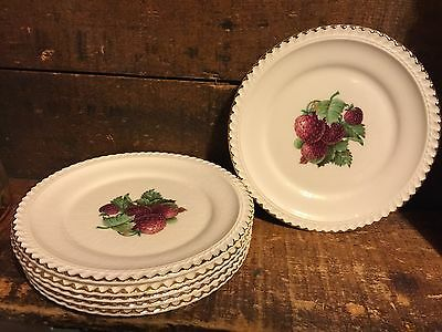 Lot 6 Vintage Old Fashioned Fancy Strawberry Dessert Plate Ruffled Edge