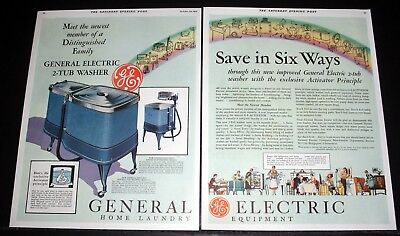 1931 Old Magazine Print Ad, New General Electric 2-Tub Washer, Save In Six Ways!