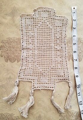 A39 Antique Filet Lace Doily Spinning Wheel Figure Table Home Decor Tassel Per 1