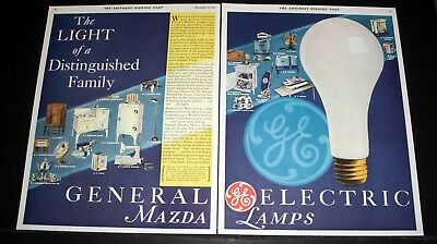 1931 Old Magazine Print Ad, General Electric Mazda, A Distinguished Family, Art!