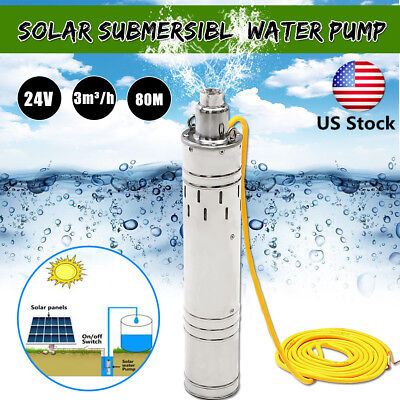 US DC 24V 684W 80M 3m³/H Brushless Steel Deep Well Solar Submersible Water Pump