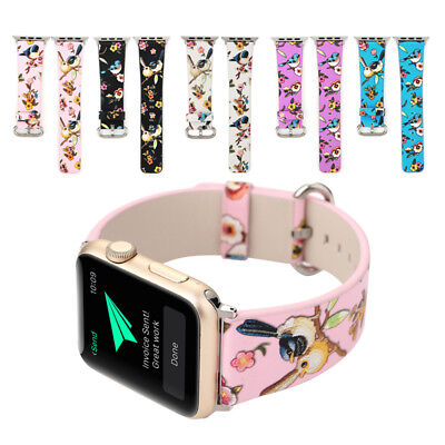 Floral Flower PU Leather Strap Wrist Band for 38mm Apple Watch Series 1 2 3