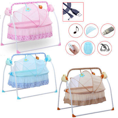 Big Space Electric Baby Crib Cradle Infant Rocker Auto-Swing Sleep Bed Cots+Mat
