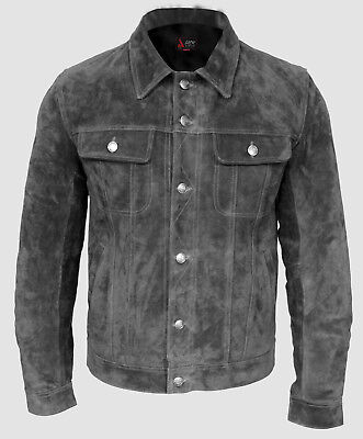Mens 1280 Black Suede Trucker Stylish Classic Casual Shirt Real Leather Jacket