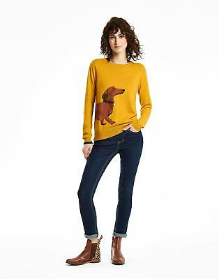 Joules Miranda Womens Intarsia Jumper in Cotton Mix in Antique Gold Dachshund