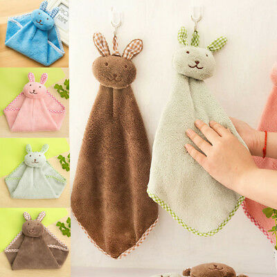 Kitchen Cartoon Animal Hanging Cloth Soft Plush Dishcloths Hand Towel Cute Tower