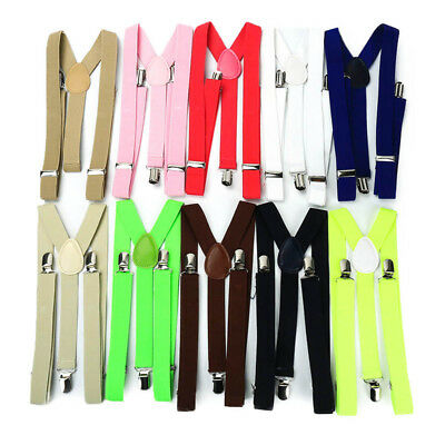 Mens Womens Elastic Clip-on Solid Color Y-Shape Adjustable Braces Suspenders Hot