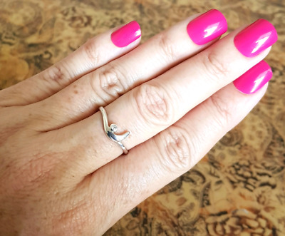 Natural diamond Ring, size 9 US, Sterling Silver, Genuine, NEW