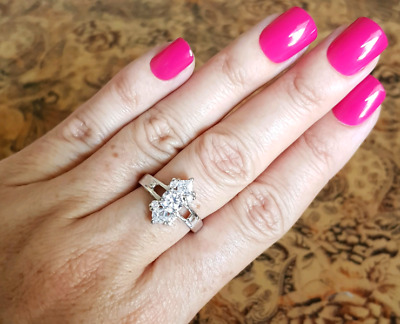 CZ Ring, size 8 3/4 US, Sterling Silver, Bling Ring