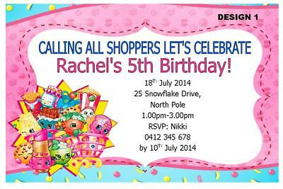 1 X SHOPKINS GIRLS BIRTHDAY PARTY PERSONALISED INVITATIONS FREE MAGNETS